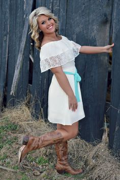 """""""Farmer's Daughter"""" Off Shoulder Dress, $36.99 with Free Shipping!  http://www.shopadorabelles.com/collections/dresses/products/farmer-s-daughter-off-shoulder-lace-dress"""
