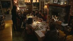 the dining room on the TV show parenthood. I love the big dining room table and that the whole family gets together so often to hang out or have dinner and that the uncles and aunts and cousins and grandparents are all so involved in everyone's life.
