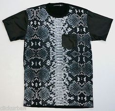 KAYDEN-K-Mens-Sublimation-Synthetic-Leather-Short-Sleeve-Tee-Snake-Skin-Pattern