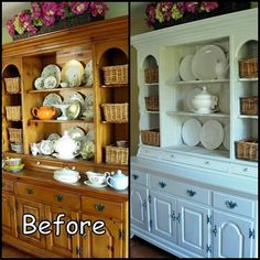 before and after... So Pretty! I'm now on the lookout for an old China Cabinet! I think a bright color or deep color on the back will make the dishes stand out.