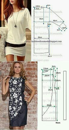 18 New Ideas For Sewing Simple Dresses Patrones - Schnittmuster Fashion Sewing, Diy Fashion, Ideias Fashion, Dress Sewing Patterns, Clothing Patterns, Pattern Dress, Skirt Patterns, Bolero Pattern, Skirt Sewing