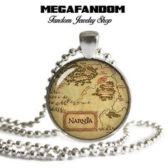 "Narnia Map Photo Glass Necklace 1"" round Pendant with a beautiful high resolution printed image sealed under a high quality glass dome. Silver plated pendant tray. Come with a silver plated ball chain"