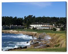 The 18th At Pebble Beach Golf  Monterey California Seascape Signed Canvas 20x30  #Realism
