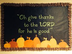 Fall bulletin board for church children's ministry, Psalm 118:1