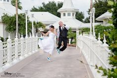 Bride and groom on the bridge at Disney's Wedding Pavilion