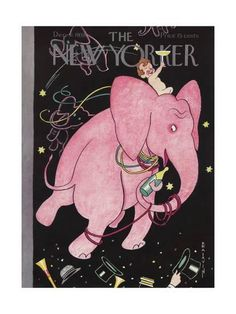 From the Condé Nast Collection of iconic magazine covers, The New Yorker from December 1938 was illustrated by Rea Irvin and has been printed on a framed canvas. This delightful image features a pink elephant enjoying champagne on New Year's Eve. The New Yorker, New Yorker Covers, Party Vintage, Vintage Pink, Baby New Year, Posters Vintage, Vintage Artwork, Magazine Art, Magazine Covers