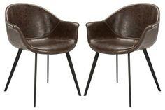 Safavieh Dublin Midcentury Modern Leather Dining Tub Chair Dark Brown/Black