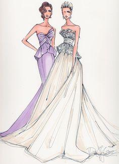 Custom Bridal Illustration 2 Figures. $225.00, via Etsy.