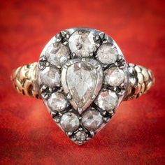 ROSE CUT DIAMOND CLUSTER RING 18CT GOLD SILVER 2.10CT OF DIAMOND cover