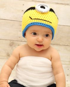 Crochet Despicable Me Minion Hat with one eye -  newborn to 3 month, 3 to 6 month