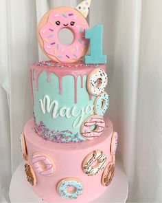 Donut party is so sweet! Donut party is so sweet! 1st Birthday Party For Girls, Donut Birthday Parties, First Birthday Cakes, Birthday Party Decorations, Birthday Ideas, Donut Birthday Cakes, Colorful Birthday, 10th Birthday, Donut Party
