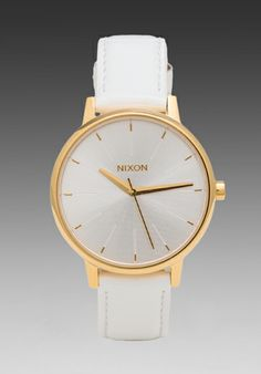 NIXON The Kensington Leather in All White/ Gold Patent at Revolve Clothing - Free Shipping!