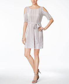 Connected Crinkled Belted Cold Shoulder Dress