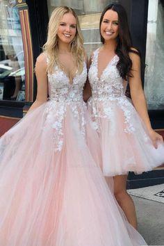 Pink v neck tulle lace long prom dress, tulle evening dress - Prom Dresses Design Quince Dresses, Hoco Dresses, Ball Dresses, Homecoming Dresses, Sexy Dresses, Graduation Dresses, Evening Dresses, Pink Dresses, Wedding Dresses