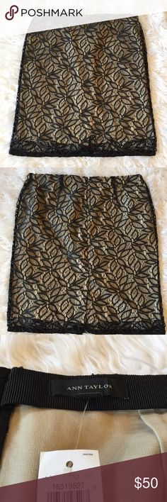 Ann Taylor Lace Pencil Skirt NWT Lace Pencil Skirt with nude liner beautiful on trend Ann Taylor Skirts Pencil