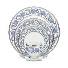 Noritake Dinnerware, Sonnet in Blue 5 Piece Place Setting - Fine China - Dining & Entertaining - Macy's Blue Dinnerware, Casual Dinnerware, China Sets, Noritake, China Patterns, Dinner Sets, Dinner Ware, Place Settings, Table Settings