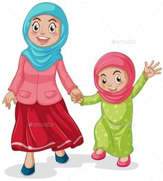 Muslim (JPG Image, Vector EPS, CS, adult, believes, cartoon, character, clothing, costume, family, female, girl, grown up, happy, islam, islamic, isolated, kid, lifestyle, muslim, on white, outfit, person, picture, religion, religious, scarf, smiling, standing, teenager, white, white background, woman)