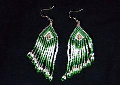 "Green & White ""Cascading"" Earrings. Seed beads."