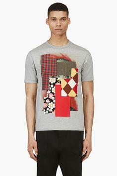 Comme Des Garçons Shirt Grey Multi Patch T-shirt for men   SSENSE