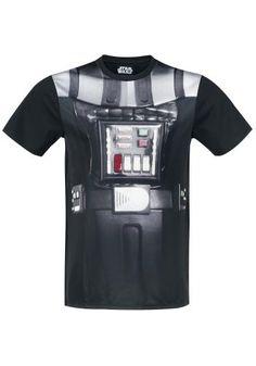 """Classica T-Shirt uomo nera """"Darth Vader Costume"""" di #StarWars con scollo tondo e ampia stampa a sublimazione frontale."""
