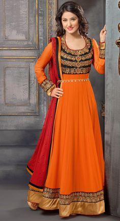 Black and Orange color Long Length Anarkali-Georgette Salwar Kameez