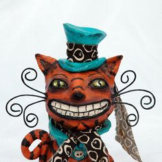 Cheshire Cat Mad Hatter Style Paperclay by sleepyhollowfolkart, $65.00