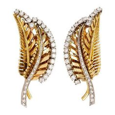 1940s Retro Diamond Gold Platinum Ear Clips   From a unique collection of vintage clip-on earrings at https://www.1stdibs.com/jewelry/earrings/clip-on-earrings/