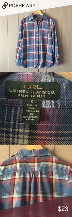 """Ralph Lauren Plaid Flannel Button Down Shirt 🍃 Like new condition and a true Flannel feel! Armpit to armpit is 19"""". Length is 26"""". Offers are welcome. ☺️ Ralph Lauren Tops Button Down Shirts"""