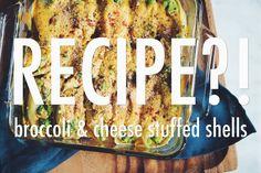 BROCCOLI & CHEESE STUFFED SHELLS. written: http://www.hotforfoodblog.com/recipes/2015/9/23/broccoli-cheese-stuffed-shells?rq=broccoli