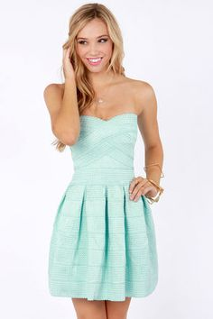 Strapless Mint Blue Dress