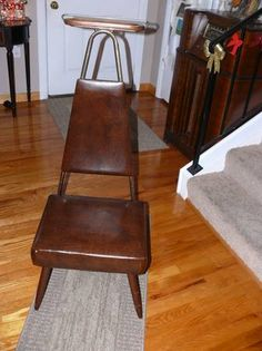 Vintage Valet - Butler Chair available in good condition for age. Made by Nova Products Corp 40's-50's era. Has original tag on bottom, original vinyl in good condition and wood tray on top in good...