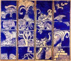 Pierre Alechinsky Vocabulaire I (1985) Acrylique sur papier maroufflé sur toile (280 x 323)
