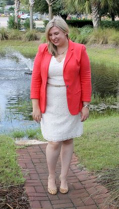 A Little Something Different Cream Lace Skirt, Dress Skirt, Lace Dress, Coral Blazer, Looks Plus Size, Professional Dresses, Plus Size Skirts, Church Outfits, Curvy Women Fashion