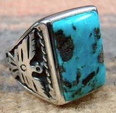 Native American Larry Begay Navajo 925 Silver Coral Turquoise Wide