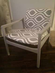 Hospital Waiting Room Chair Redone- Paint and Simple Upholstery Chair Redo, Oversized Chair And Ottoman, Waiting Rooms, Upholstered Dining Chairs, Furniture Makeover, Side Chairs, Painted Furniture, Accent Chairs, Armchair