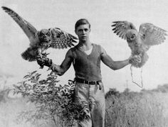 Frank Craighead with his owls, 1937