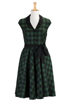 Beaded Fit & Flare Dresses, Plaid Dresses Fifties Women's Designer Dresses - Prom Dress, Homecoming Dress, Party Dress - Shop womens Full sl...