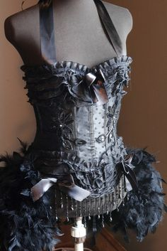 KALI Black Great Gatsby Burlesque Costume Corset for Halloween steampunk feathers