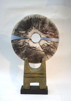 Mounted Raku Disc with Blue Wave h. 45.7 x w. 27.9 cm