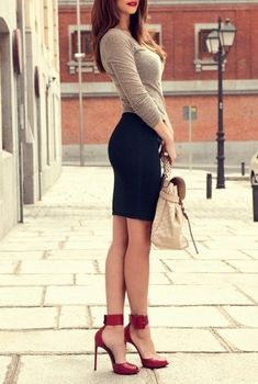 lady in red shoes