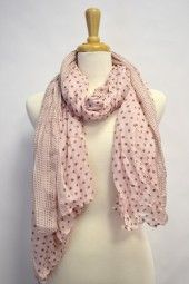 Light weight polka dot scarf, great for spring/summer season.  The mix of large and small polka dots make this scarf even more unique. $24.99 Use code PINIT at checkout for 10% off your entire order.