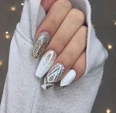 White and gold sparkly nails #acrylic got off tumblr