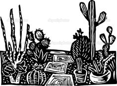 Woodcut Illustration of Cactus Garden — Stock Vector © ronjoe # - Modern Woodcut Art, Cactus Tattoo, Scratchboard, Cactus Art, Black And White Illustration, Wood Engraving, Printmaking, Drawings, Prints