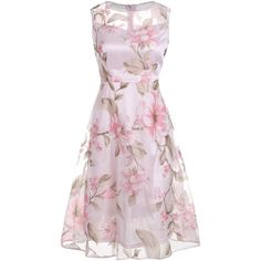 Floral Printed Sleeveless Organza A Line Midi Dress (24 CAD) ❤ liked on Polyvore featuring dresses, rosegal, pink sleeveless dress, mid calf dresses, midi day dresses, midi dress and sleeveless floral dress