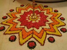 Rangoli Designs Flower, Colorful Rangoli Designs, Flower Rangoli, Kolam Designs, Flower Designs, Diwali Decorations, Festival Decorations, Flower Arrangement, Floral Arrangements