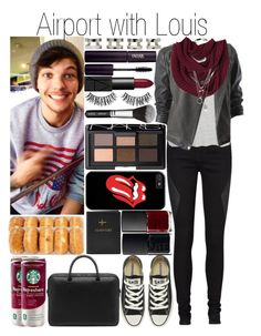 """Airport with Louis"" by fashion-onedirection ❤ liked on Polyvore featuring Vero Moda, Topshop, NARS Cosmetics, Promod, Maison Margiela, INIKA, Rimini, Converse, FOSSIL and Mulberry"