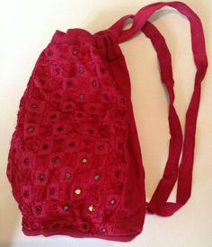 Red Indian Cotton Embroidered Mirror Brocade Hippy Boho Backpack