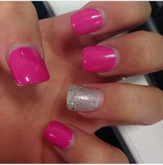 Pink and silver Acrylics