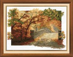 Autumn Bridge - Counted Cross Stitch Kit with Color Symbolic Scheme