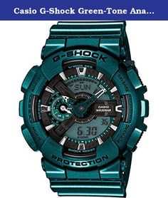 Casio G-Shock Green-Tone Analog Digital Dial Resin Quartz Men's Watch GA110NM-3A. This new model dresses up the big case GA-100 in bold metallic green hue which is part of today's summer street fashions. Face, the small hand, and the large hand are done in a single base color, while the tips of all hands are white for easy reading.